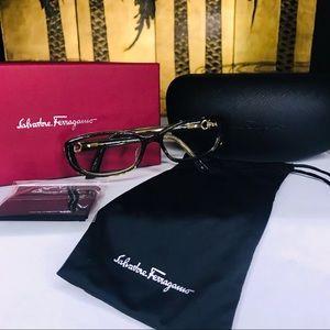 NWB Salvatore Ferragamo Eyewear Crystal Khaki Grn